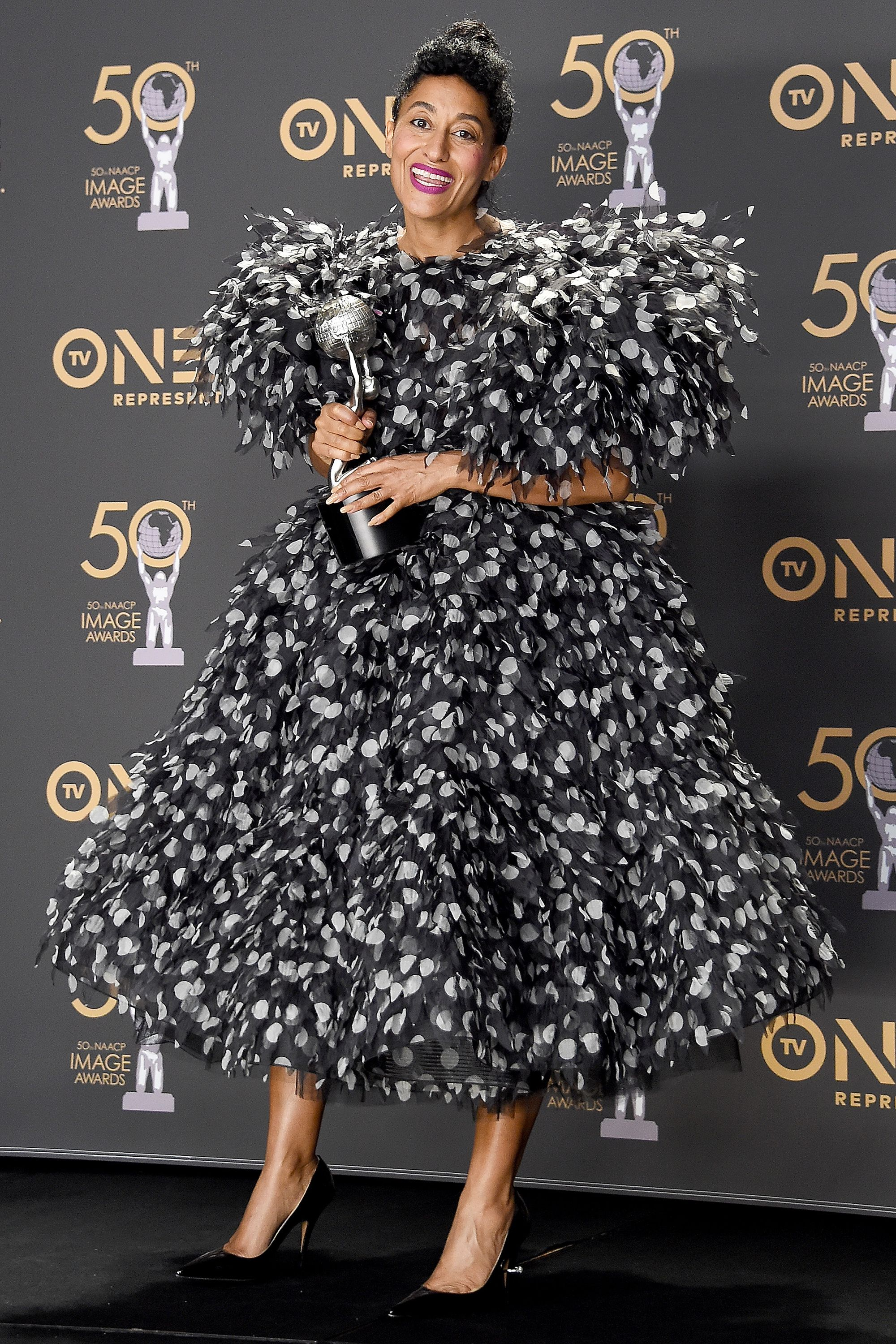 Who: Tracee Ellis Ross When: March 30, 2019 Wearing: Marc Jacobs Why: Giant, poofy dresses aren't for everyone, but you can't deny the force that is Tracee Ellis Ross at the NAACP Image Awards. We appreciate her ferocious commitment to making fashion fun.