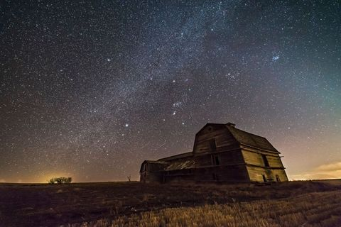 orion and the winter milky way over the grand old barn near home sirius and canis major are at left, aldebaran and taurus, with the pleiades at upper right a glow of zodiacal light shines to the west at right   taken march 18, 2017 on a very clear night but with a gale force wind blowing from a chinook wind, and with the warm day the fields were muddy and soft as were the side roads   this is a stack of 8 x 30 second exposures for the ground mean combined to smooth noise and a single 30 second exposure for the sky all at f25 with the new rokinon 14mm sp lens and with the canon 6d at iso 3200 photo by vw picsuniversal images group via getty images