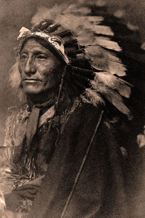 Portrait of Native American man in robe and feather headdress,1902. Photograph by Gertrude Kasebier (1852-1934).