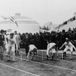 athens   1896  the start of the 100 meters sprint at the first olympic games of the modern era in athens, greece photo by getty images