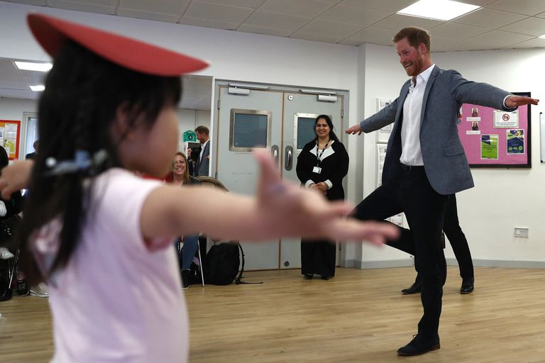 Prince Harry taking part in the dance class.