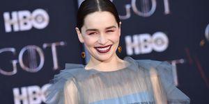 Emilia Clarke brunette hair up-do at Game Of Thrones season 8 premiere
