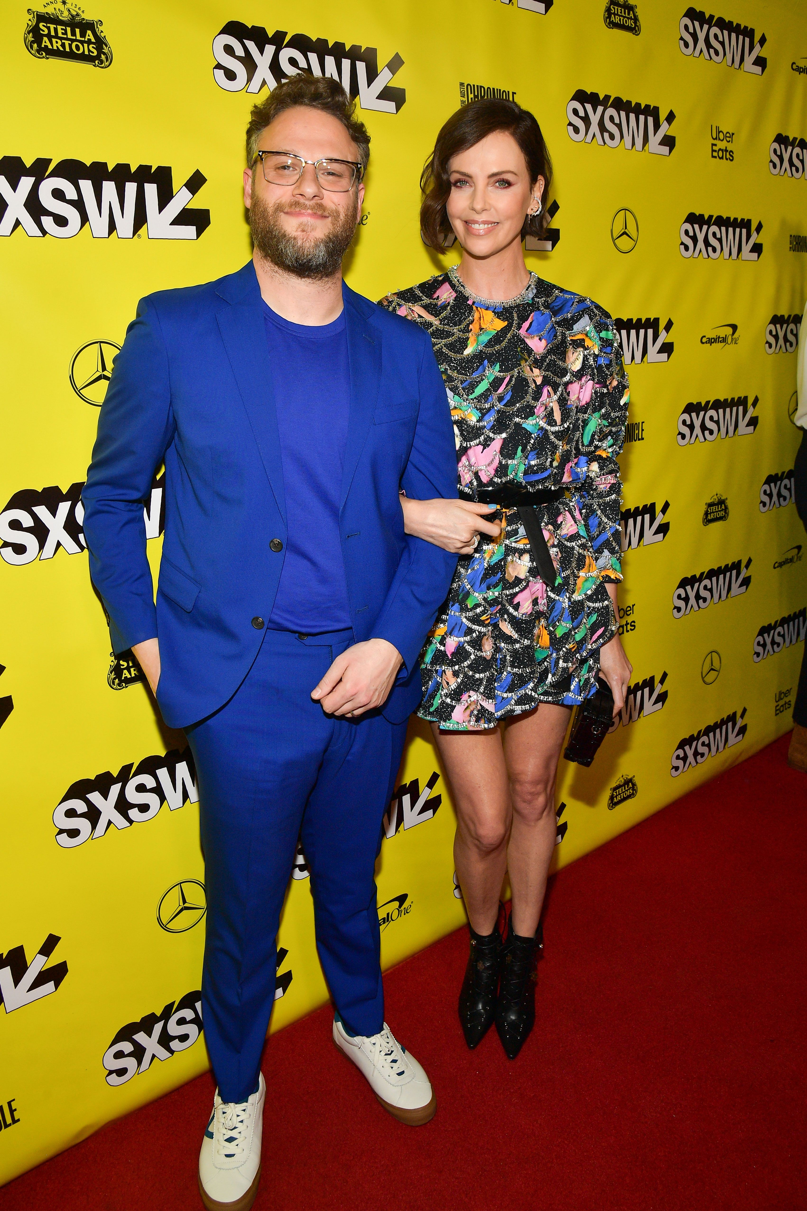 Seth Rogen and Charlize Theron at the South by Southwest premiere of Long Shot on March 9, 2019 in Austin, Texas.