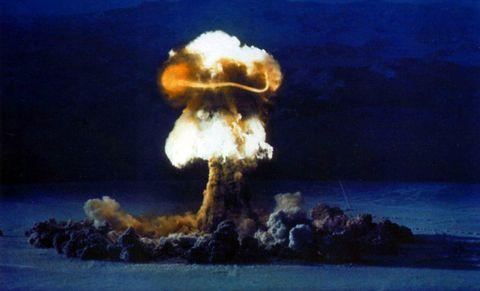 Explosion, Sky, Sea, Rock,