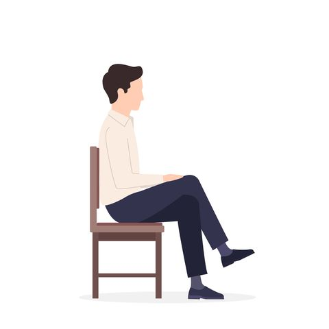 man sitting on a chair in different poses relaxed, constrained posture, throwing his leg over his leg, falls vector illustration isolated on white background