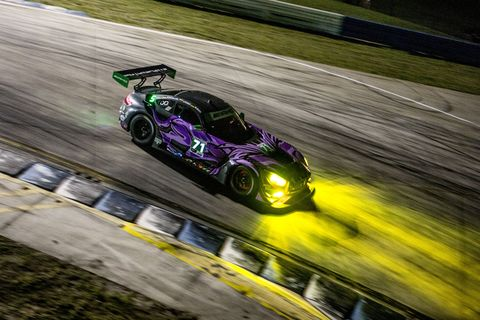 sebring,  fl   mar 14, 2019  the 71 mercedes amg gt3 of jc perez, of colombia, maximillian buhk, of germany, and fabian schiller, of germany,  races on the track during practice before  the 12 hours of sebring at sebring international raceway in sebring, fl photo by brian clearygetty images