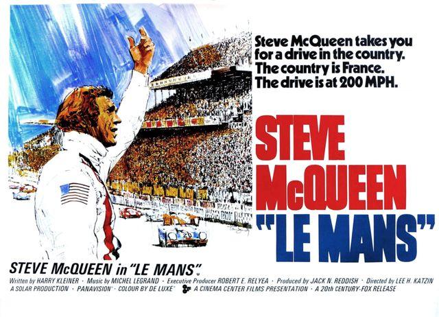 le mans, poster, steve mcqueen, 1971 photo by lmpc via getty images
