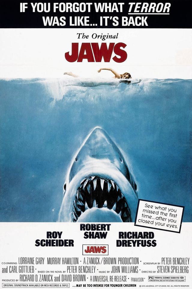 jaws, poster, re release poster, 1975 photo by lmpc via getty images