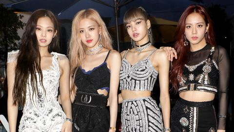 indio, ca   april 12  editors note retransmission with alternate crop l r jennie kim, rosé, lisa and jisoo of blackpink are seen at the youtube music artist lounge at coachella 2019 on april 12, 2019 in indio, california  photo by roger kisbygetty images for youtube