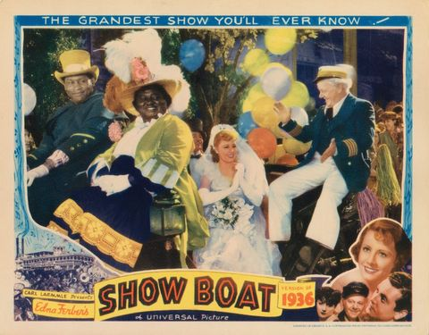 show boat, lobbycard, top paul robeson top hat, hattie mcdaniel feathered hat, irene dunne center, charles winninger right, bottom from left helen morgan, charles winninger, irene dunne, allan jones, 1936 photo by lmpc via getty images