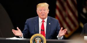President Trump Attends Roundtable Discussion On Economy And Tax Reform At Trucking Equipment Company In Minnesota
