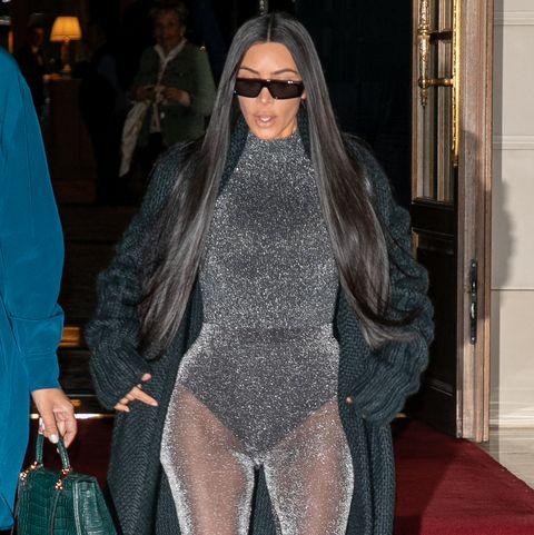 Kim Kardashian sheer sparkly bodysuit