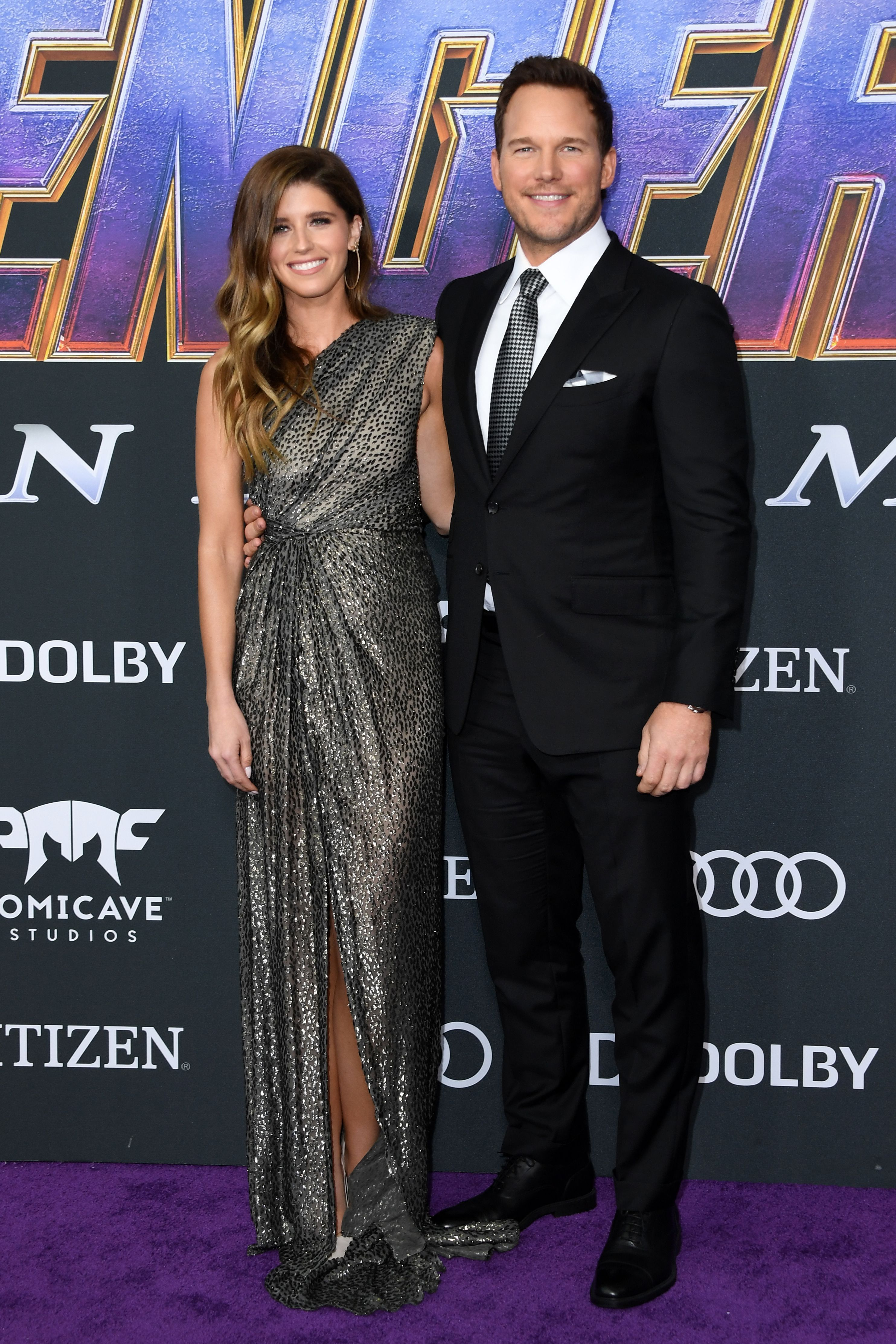 Chris Pratt and Katherine Schwarzenegger Schwarzenegger in Monique Lhuillier.