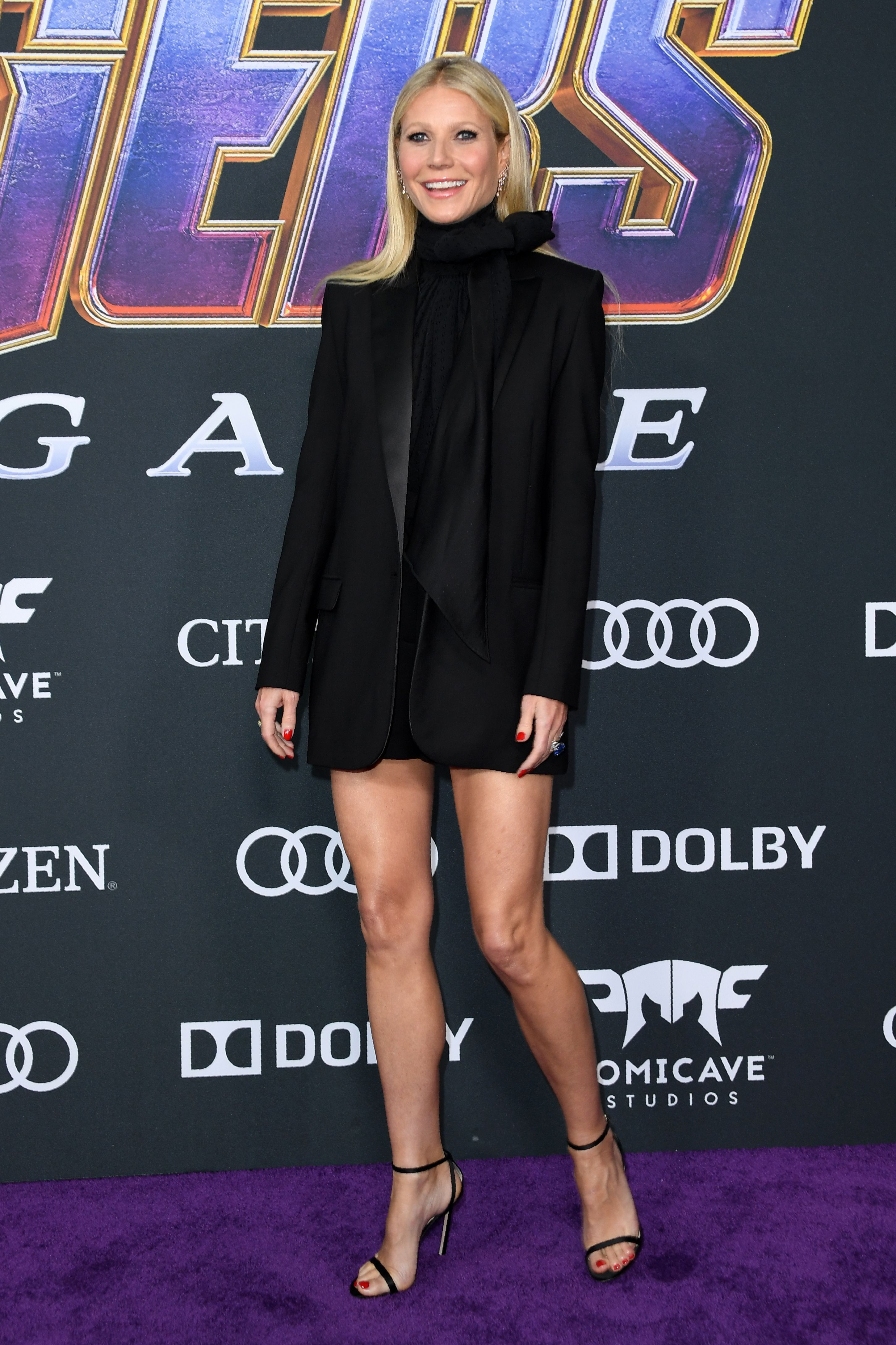 Gwyneth Paltrow In G. Label with Jimmy Choo shoes.