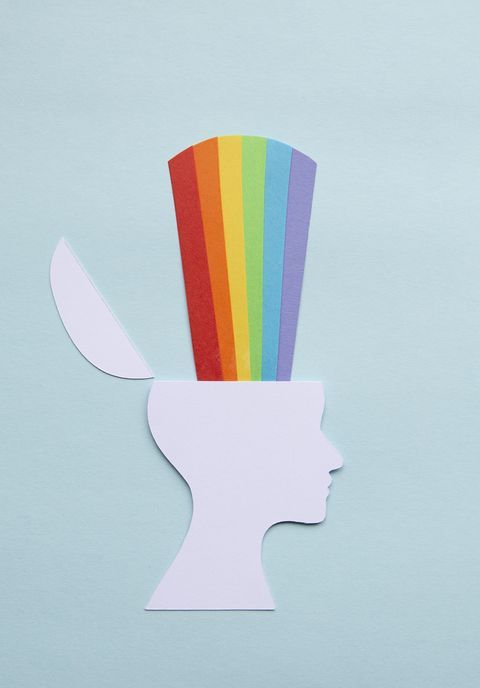 Paper head with rainbow