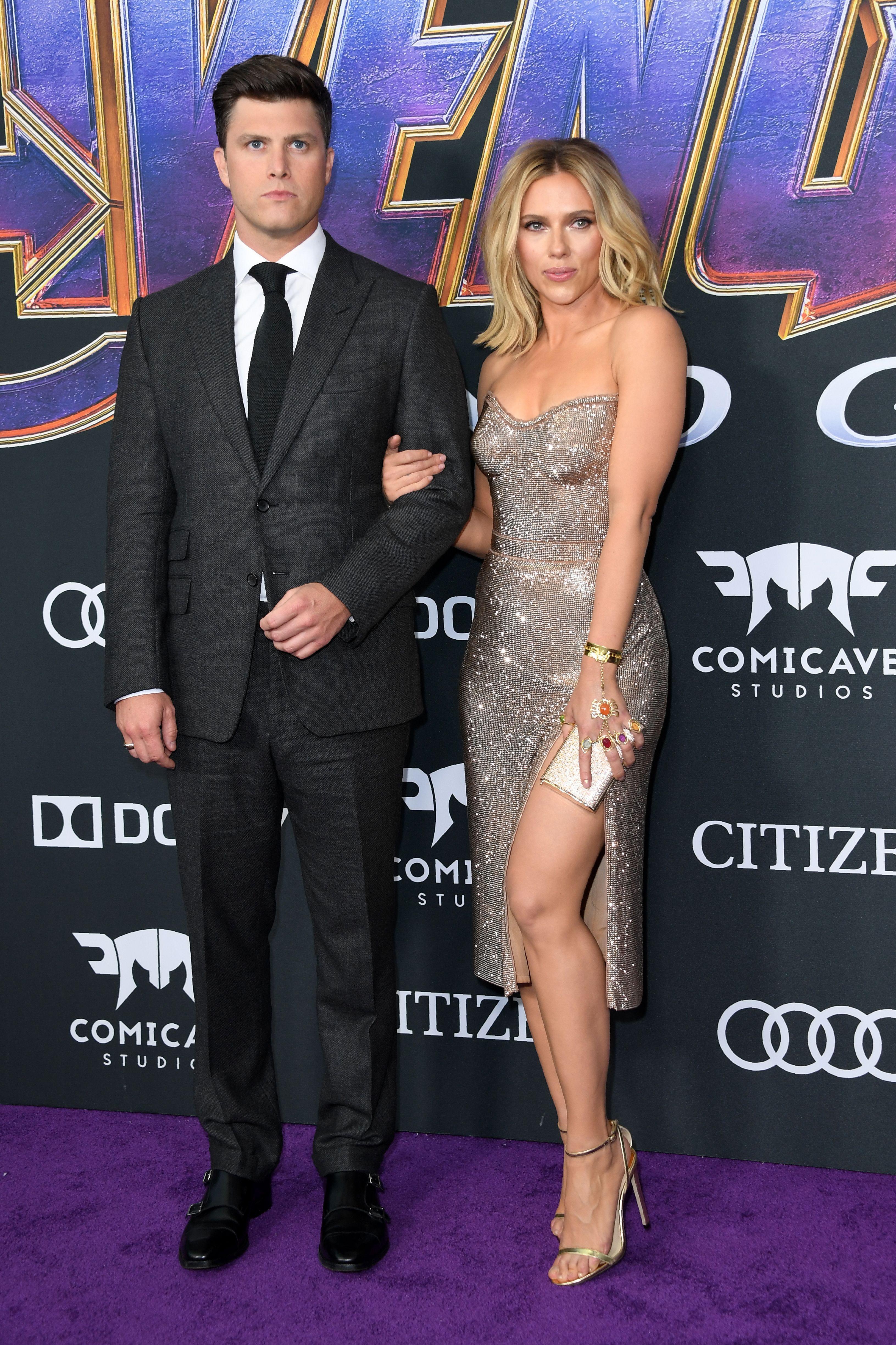 Scarlett Johansson and Colin Jost Johansson in Atelier Versace.