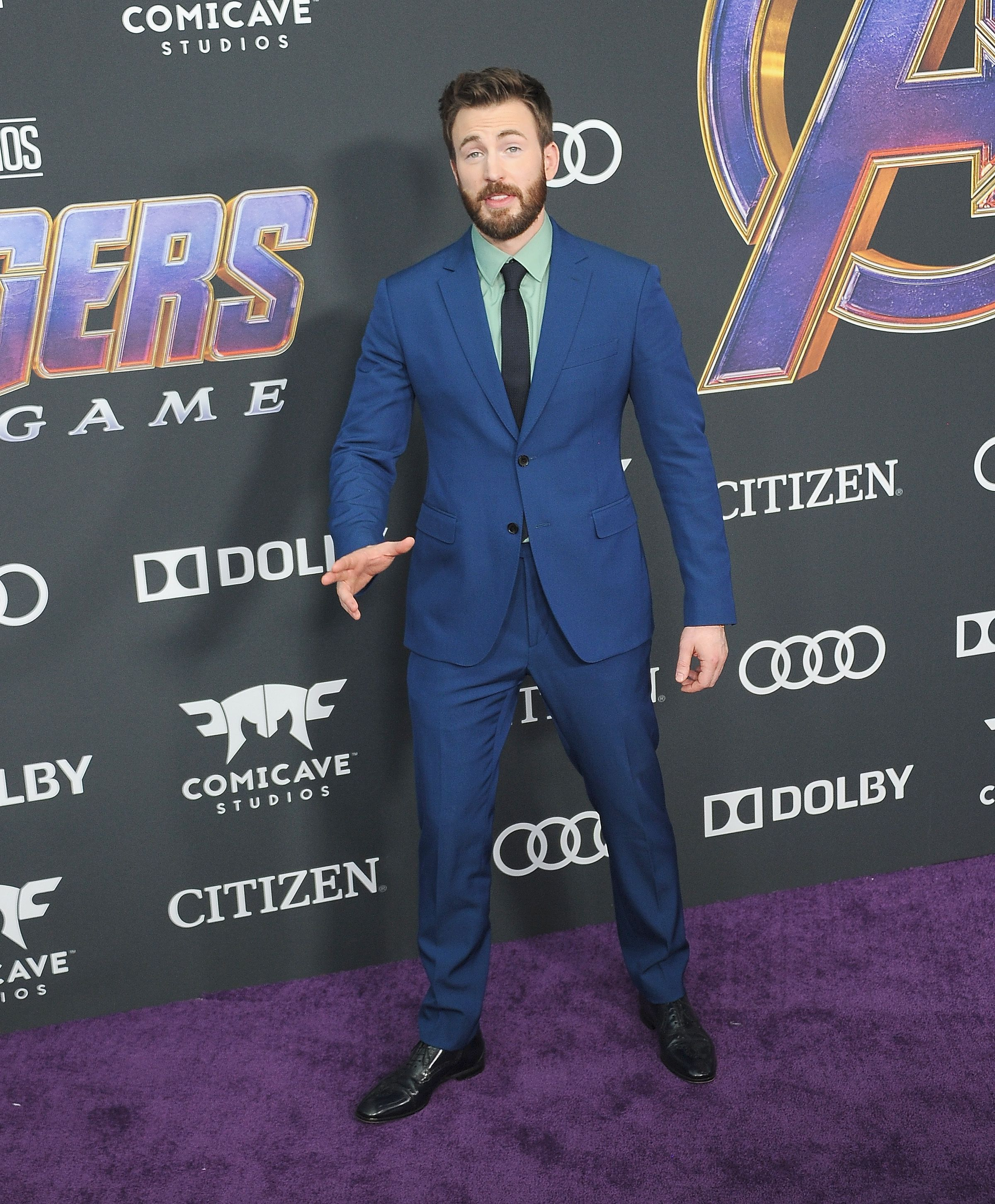 Chris Evans In custom Salvatore Ferragamo.
