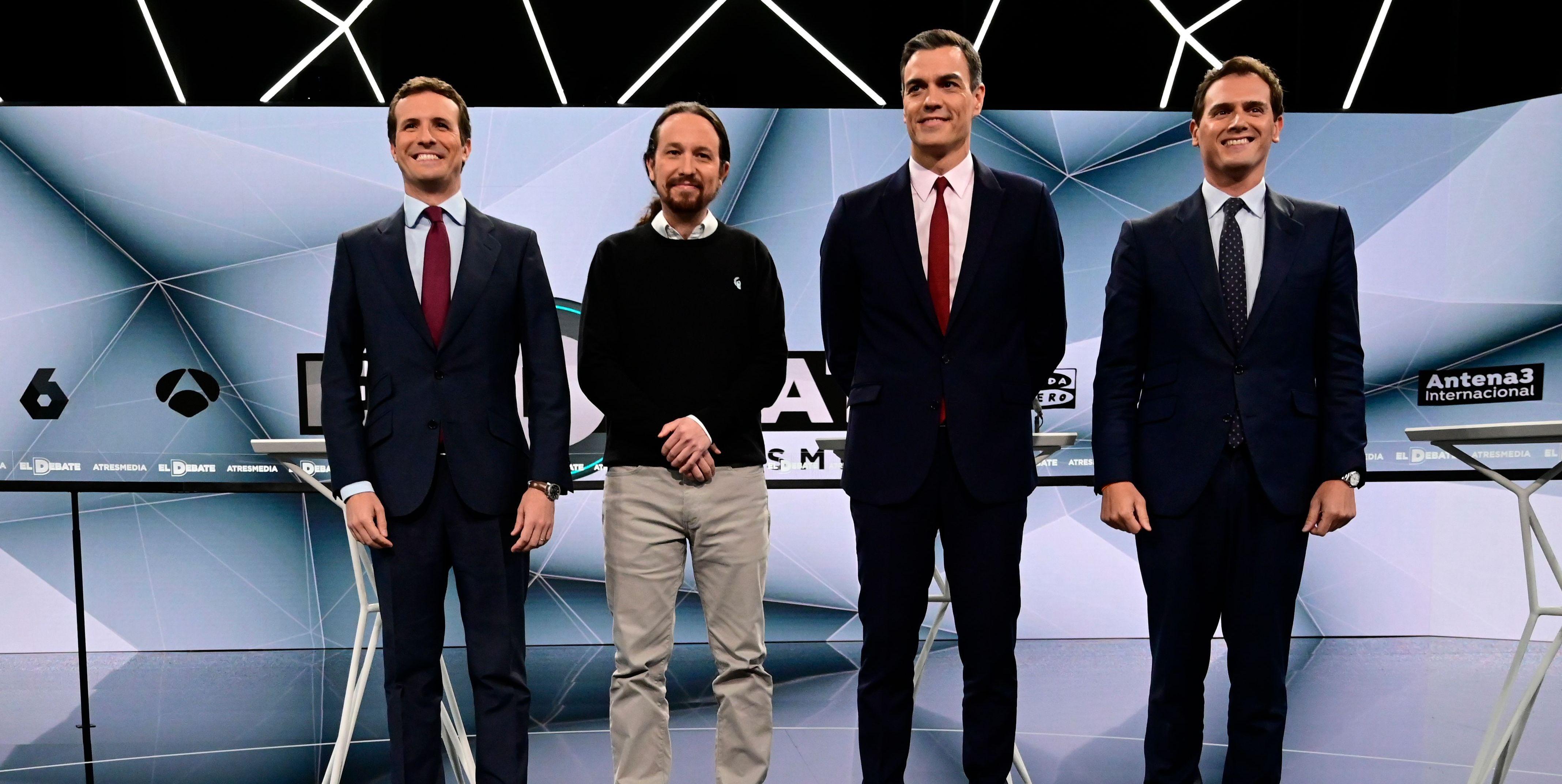 Los candidatos de los cuatro partidos en el debate de Atresmedia