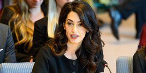 International human rights lawyer Amal Clooney seen speaking