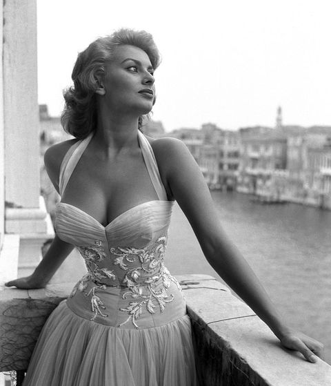 italian actress sophia loren portayed standing on a terrace on the canal grande, wearing a white embroidered dress, venice, 1955 photo by archivio cameraphoto epochegetty images