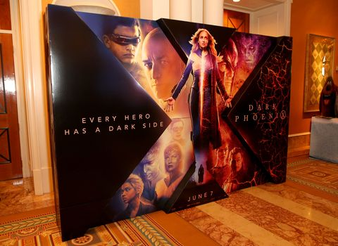 las vegas, nevada   april 01 an advertisement for the upcoming dark phoenix movie is displayed at caesars palace during cinemacon, the official convention of the national association of theatre owners on april 01, 2019 in las vegas, nevada photo by gabe ginsbergwireimage