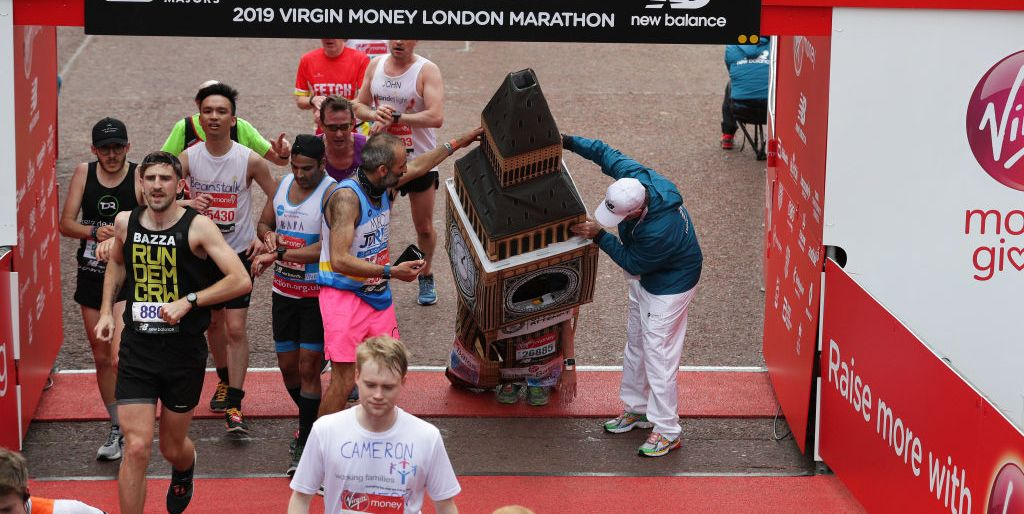 big ben runner gets stuck at london marathon finish line