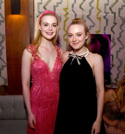 hollywood, california   april 02 elle fanning l and dakota fanning pose at the after party for a special screening of bleeker streets teen spirit at the highlight room on april 02, 2019 in hollywood, california photo by kevin wintergetty images