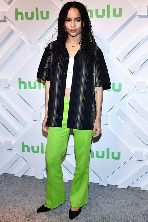 new york, ny   may 01  actress zoe kravitz attends 2019 hulu upfront at scarpetta on may 1, 2019 in new york city  photo by slaven vlasicgetty images