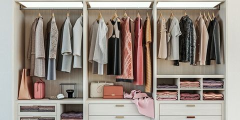 Room, Closet, Wardrobe, Clothes hanger, Furniture, Shelf, Cupboard, Chest of drawers, Shelving, Interior design,