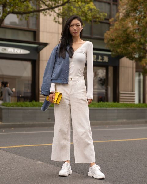 White, Photograph, Clothing, Street fashion, Yellow, Fashion, Snapshot, Outerwear, Footwear, Shoulder,