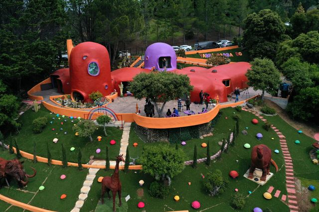 hillsborough, california   april 11 a view of the so called flintstones house on april 11, 2019 in hillsborough, california hillsborough, the affluent suburb of san francisco, is suing home owner florence fang to force her to remove unpermitted garden installations outside of the so called flintstones house the town claims that the outdoor installations were installed without permits and call the yard decorations property a public nuisance and an eyesore fang is counter suing the town  photo by justin sullivangetty images
