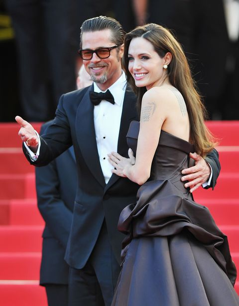 cannes, france   may 16  angelina jolie r and brad pitt attend the tree of life premiere during the 64th annual cannes film festival at palais des festivals on may 16, 2011 in cannes, france  photo by pascal le segretaingetty images