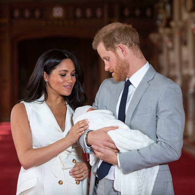 windsor, england   may 08 prince harry, duke of sussex and meghan, duchess of sussex, pose with their newborn son archie harrison mountbatten windsor during a photocall in st george's hall at windsor castle on may 8, 2019 in windsor, england the duchess of sussex gave birth at 0526 on monday 06 may, 2019 photo by dominic lipinski   wpa poolgetty images