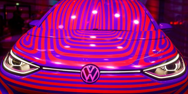 a volkswagen id 3 electric car is seen in a glass cage during a press conference in berlin on may 8, 2019   volkswagen launched pre orders via a microsite at a press conference in the german capital today for the id3 1st plus   a high spec, launch edition version of the volkswagen brands first id model the first deliveries of the vehicle on the meb all electric platform are scheduled in the sumer of 2020 photo by odd andersen  afp        photo credit should read odd andersenafp via getty images