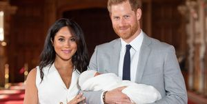 Meghan Markle and Prince Harry pose With Their Newborn Son Archie