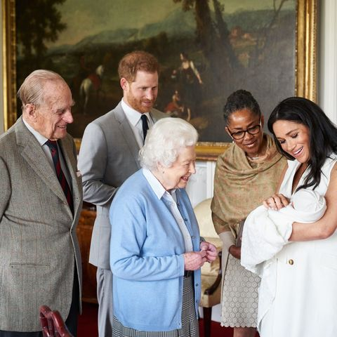 Meghan, Harry, Philip, Doria, and Elizabeth with Archie