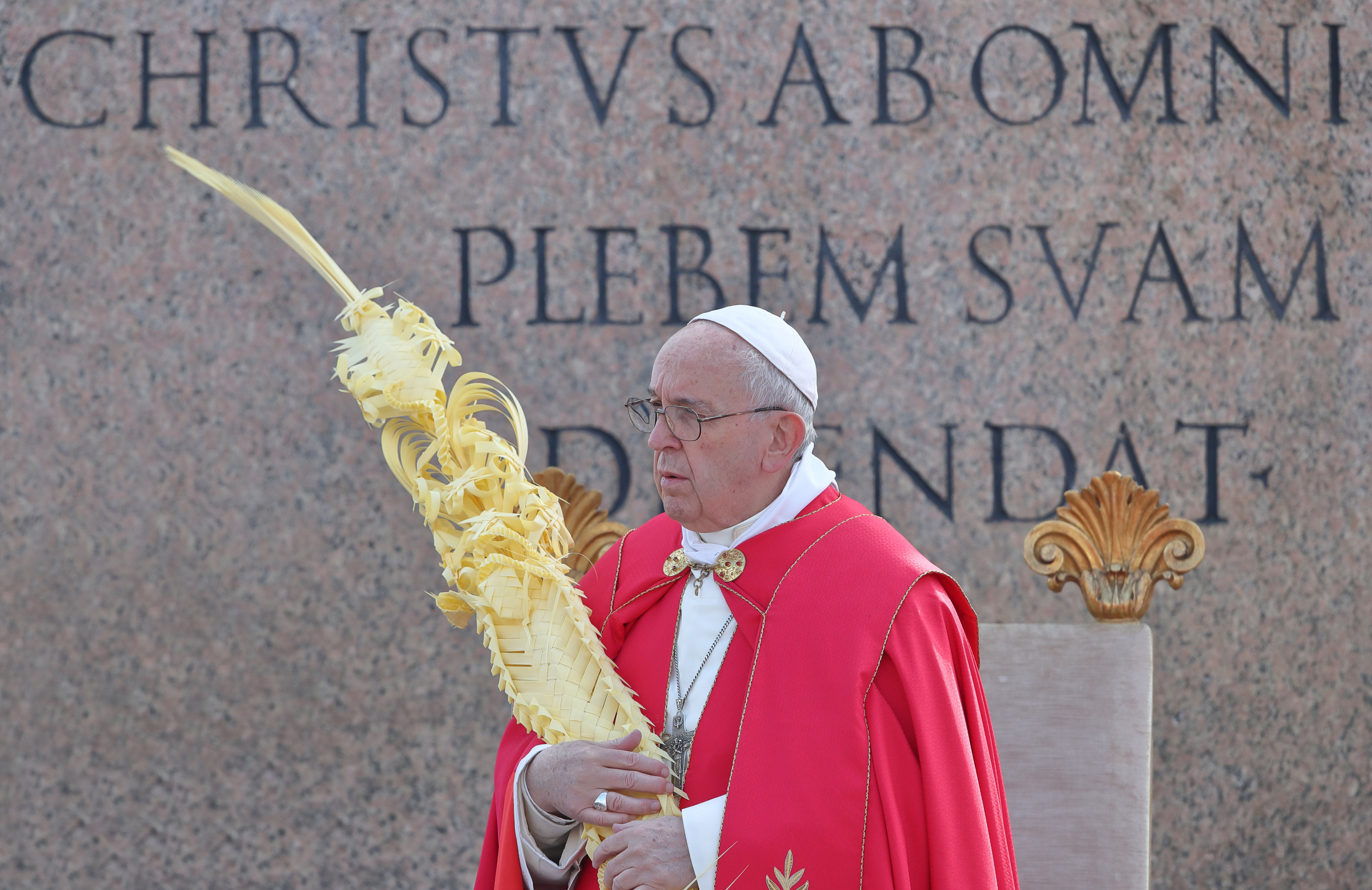 Pope Francis blesses palm and olive branches with holy water in occasion of Palm Sunday and the Passion of the Lord at Saint Peter's Square.