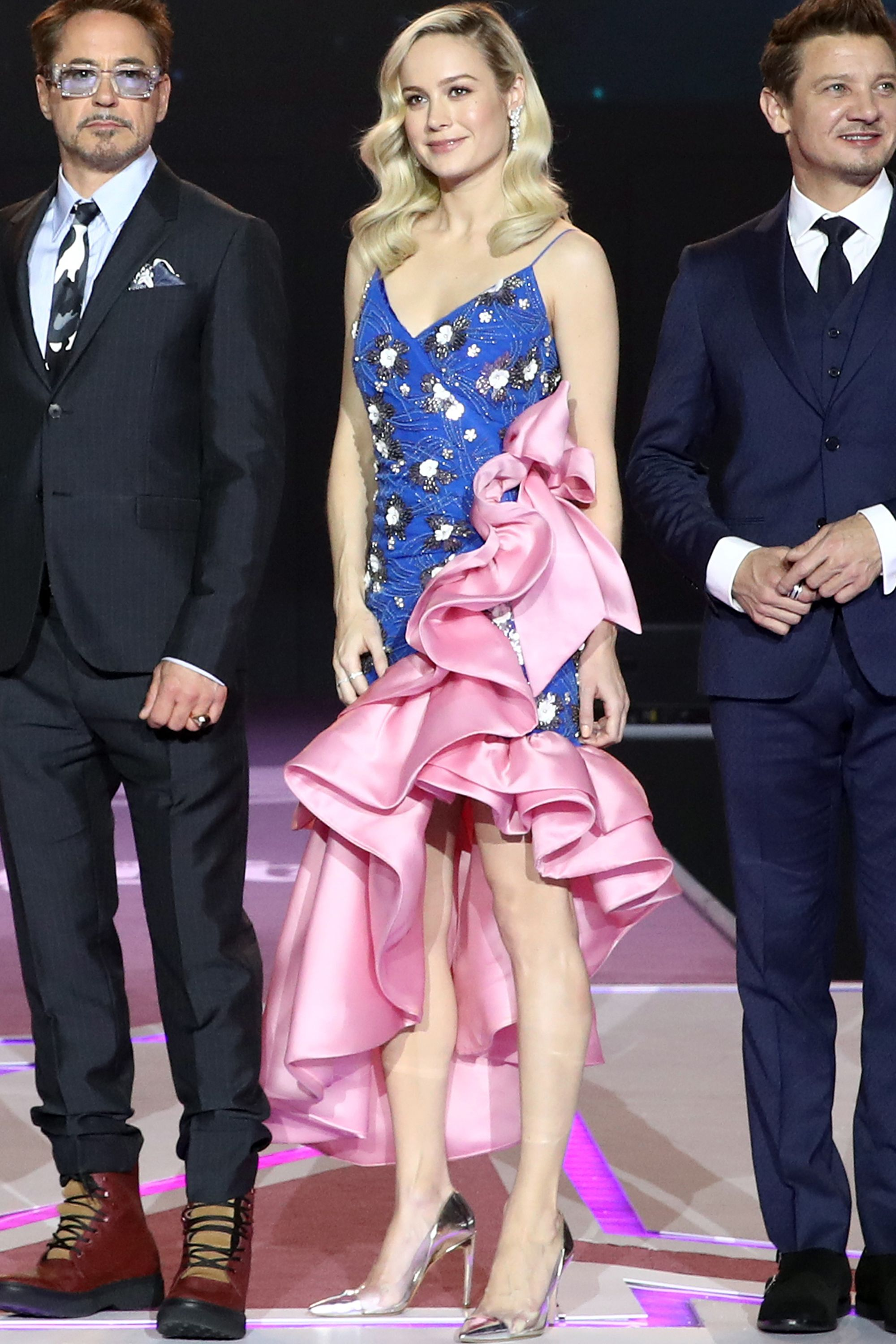 Who: Brie Larson When: April 15, 2019 Wearing: Rodarte Why: Promoting Avengers: Endgame in South Korea, Brie Larson wore an outfit that can only be described as Vanna White attending prom (which is basically the same thing). We are here for this prime example of '80s revival, which wins Larson best dressed of the week.