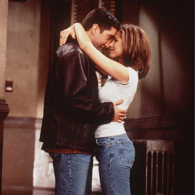 1996 david schwimmer and jennifer aniston of the tv hit series friends