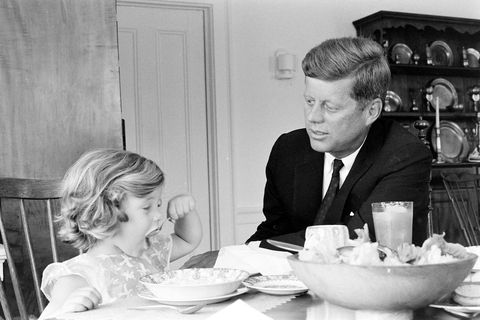 presidential candidate john f kennedy with daughter