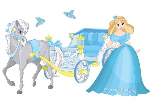 Cinderella and Fairytale blue carriage