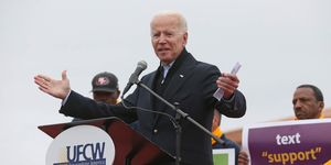 Former Vice President Joe Biden speaks to striking Stop & Shop workers