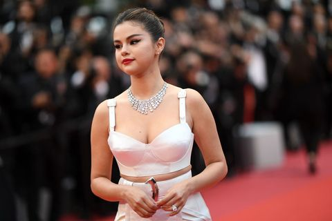 9566b1abd97 Selena Gomez Stuns In A Silky Leg-Slit Dress On The Cannes Red Carpet