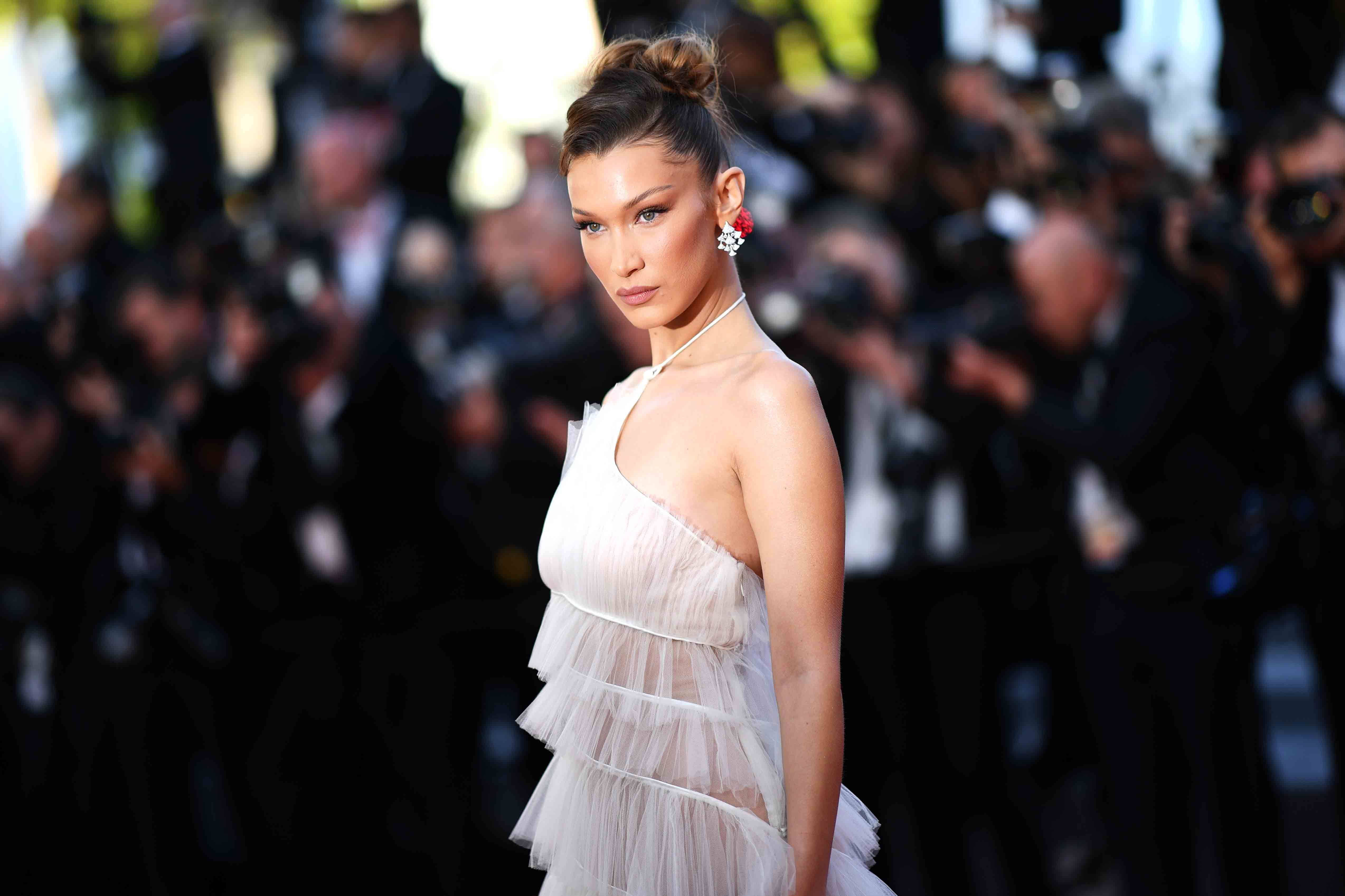 Bella Hadid Stuns In Frothy White Tulle Dior On The Cannes Red Carpet
