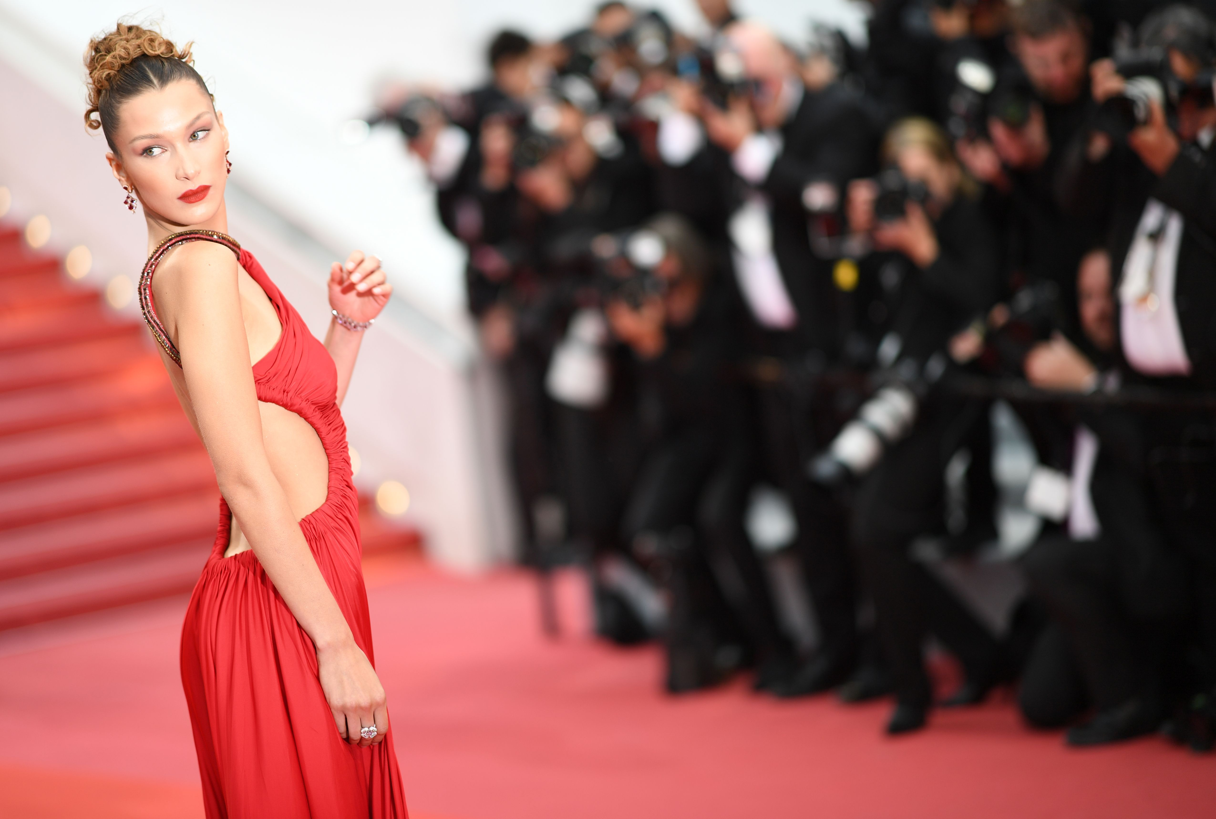 Bella Hadid Wore a Jawdropping Red High Leg Slit Gown for the Cannes Premiere of 'Pain and Glory'