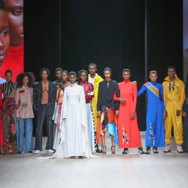 lagos, nigeria   april 21 models wearing pyer moss pose on the runway during arise fashion week on april 21, 2019 in lagos, nigeria photo by bennett raglingetty images