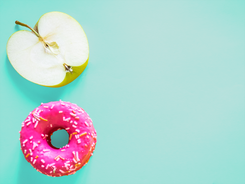 Doughnut, Colorfulness, Snack, Sweetness, Baked goods, Confectionery, Circle, Dessert, Produce, Finger food,
