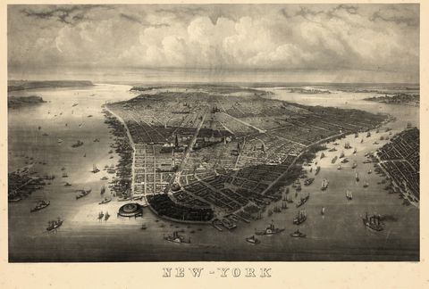 New York, 1851, New York City, Bird's Eye View