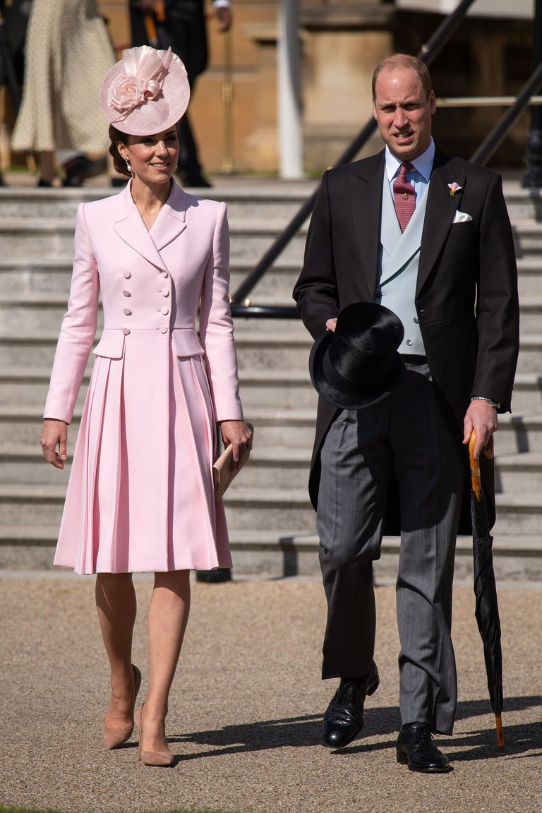 At one of the Queen's Garden Parties, on the grounds of Buckingham Palace, Kate paired a coatdress —from one of her all-time favorite designers, Alexander McQueen—with a headpiece by Juliette Botterill.