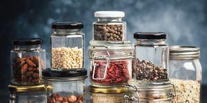 Kitchen shelf with jars